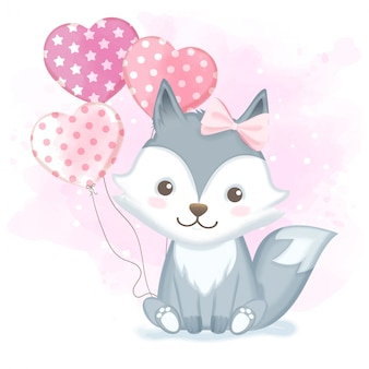 Lindo bebé zorro con globo dibujado a mano ilustración acuarela