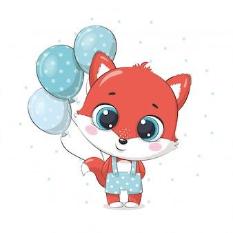 Lindo bebé zorro con globos. ilustración para baby shower, tarjeta de felicitación, invitación de fiesta, impresión de camiseta de ropa de moda.