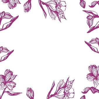 Lindo borde de alstroemeria realista dibujado a mano. flores de primavera tradicionales en estilo de tinta para decoración de bodas y diseño de fondo.