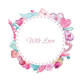 Lindo borde redondo rosa con elementos del día de san valentín
