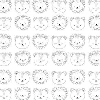 Lindo bosque animales personajes de patrones sin fisuras fondo de pantalla