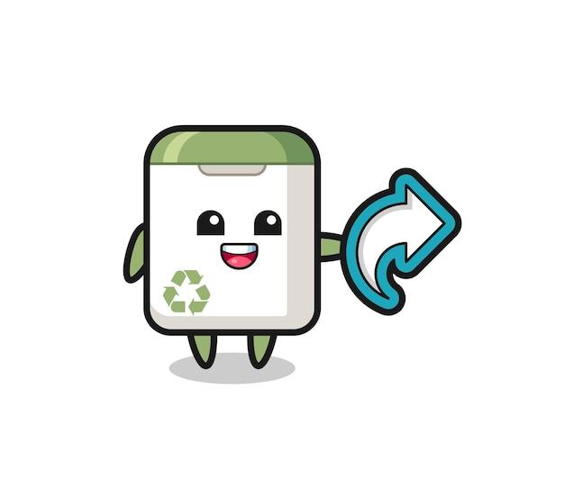 Lindo bote de basura con símbolo de compartir en las redes sociales, diseño de estilo lindo para camiseta, pegatina, elemento de logotipo