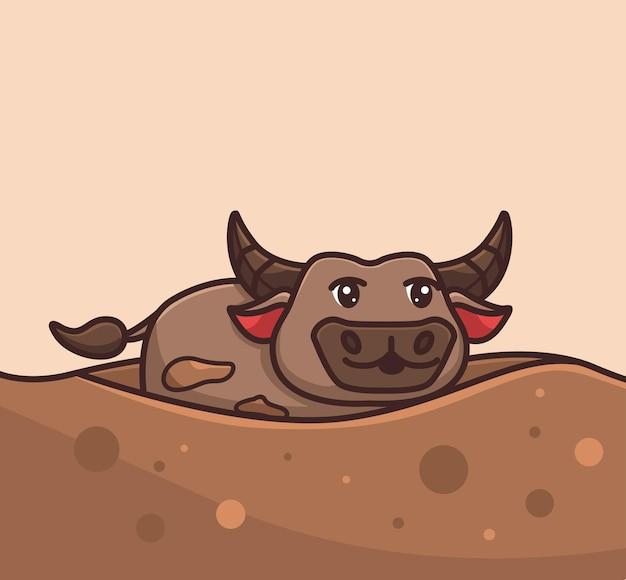 Lindo búfalo cuerno grande jugando en el barro vector ilustración dibujos animados estilo plano animal aislado
