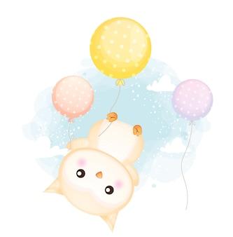 Lindo búho bebé doodle flotando con globos en el aire de dibujos animados