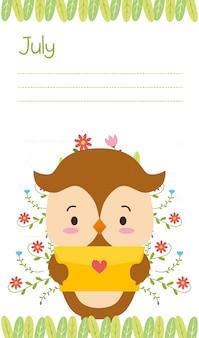 Lindo búho con carta de amor, recordatorio de julio, estilo plano
