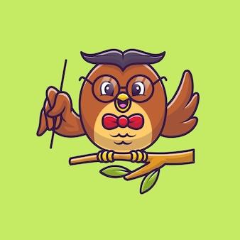 Lindo búho enseñando con puntero en la ilustración de dibujos animados de árbol. concepto de icono de educación animal