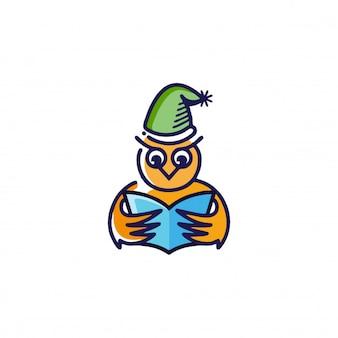 Lindo búho leyendo el logo de un libro