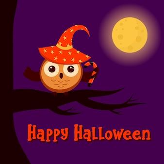 Lindo búho con sombrero de bruja con dulces está sentado en una rama la luna brilla feliz