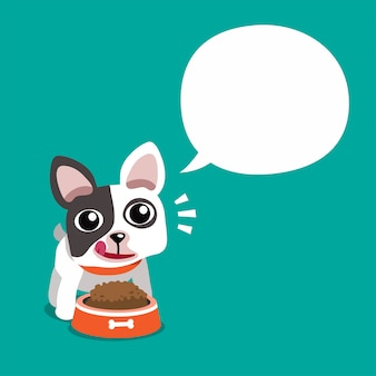 Lindo bulldog francés y bocadillo blanco, personaje de dibujos animados