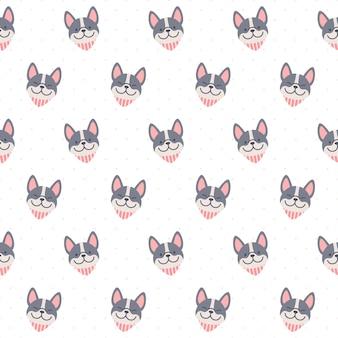 Lindo bulldog francés con bufanda cuello patrón repetitivo sin fisuras, fondo de pantalla, lindo fondo transparente