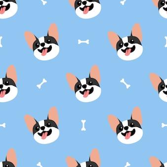 Lindo bulldog francés cara de patrones sin fisuras