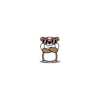 Lindo bulldog inglés con gafas de sol cruzando los brazos de dibujos animados