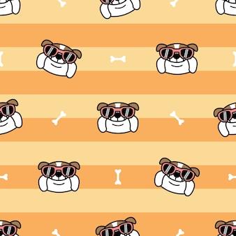 Lindo bulldog inglés con gafas de sol de dibujos animados de patrones sin fisuras