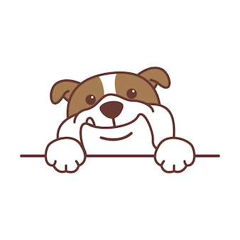 Lindo bulldog inglés con patas sobre la pared