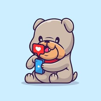 Lindo bulldog jugando ilustración de vector de dibujos animados de teléfono. vector aislado del concepto de tecnología animal. estilo de dibujos animados plana