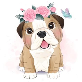 Lindo bulldog pequeño con ilustración floral