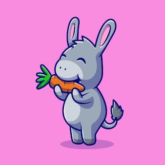 Lindo burro comiendo zanahoria personaje de dibujos animados. alimentos para animales aislados.