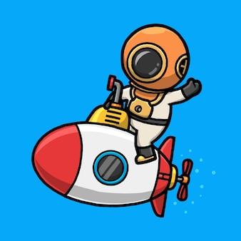 Lindo buzo montando submarino y agitando la mano de dibujos animados