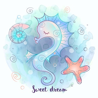Lindo caballito de mar durmiendo dulcemente