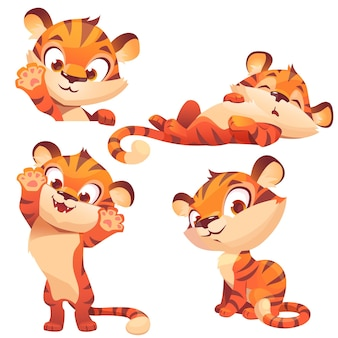 Lindo cachorro de animal divertido de personaje de dibujos animados de tigre
