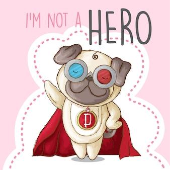 Lindo cachorro animal pequeño héroe-vector