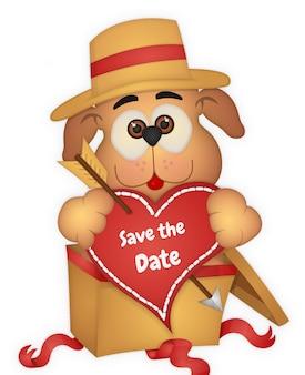 Lindo cachorro guardar el elemento de fecha