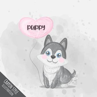 Lindo cachorro con ilustración de crayón de globo de corazón para niños