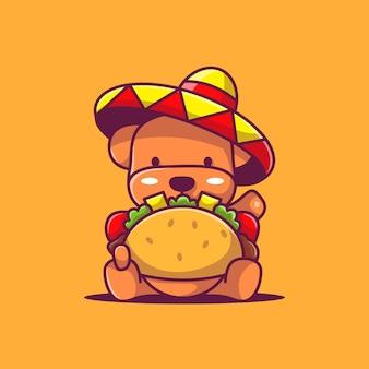 Lindo cachorro con ilustración de vector de tacos