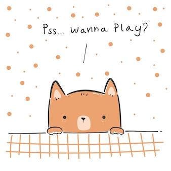 Lindo cachorro jugando tarjeta de doodle de dibujos animados de peek