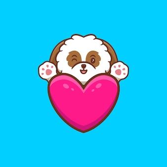 Lindo cachorro shih-tzu agitando las patas detrás de la ilustración del icono de dibujos animados de corazón