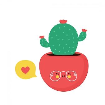 Lindo cactus feliz planta en maceta tarjeta. aislado en blanco diseño de ilustración de personaje de dibujos animados de vector, estilo plano simple. concepto de personaje de cactus.