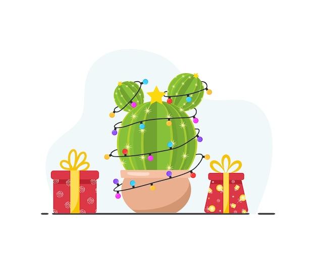 Lindo cactus con guirnaldas de año nuevo y regalos. feliz navidad. feliz navidad. estilo plano. diseño para tarjetas de felicitación o banner web.