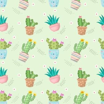 Lindo cactus en maceta de patrones sin fisuras.