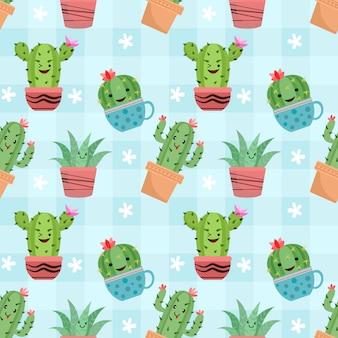 Lindo cactus en macetas de patrones sin fisuras.