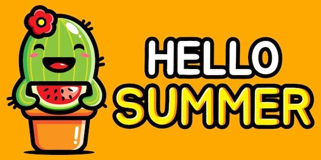 Lindo cactus con pancarta de saludo de verano