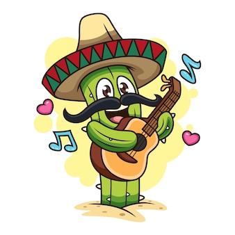 Lindo cactus tocando la guitarra. ilustración del icono de dibujos animados. concepto de icono de planta aislado sobre fondo blanco