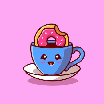 Lindo café caliente con dibujos animados de donut