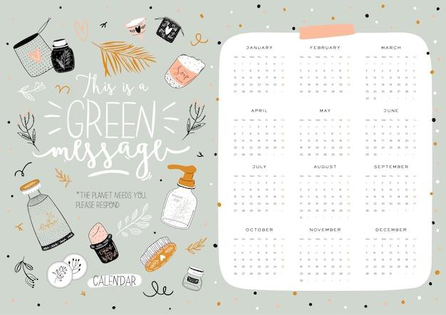 Lindo calendario cero residuos 2021. calendario planificador anual con todos los meses. buen organizador y horario