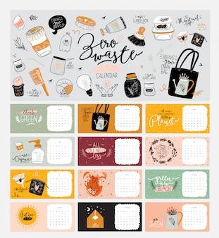 Lindo calendario cero residuos. calendario planificador anual con todos los meses. buen organizador y horario. ilustración colorida brillante con citas motivacionales. antecedentes