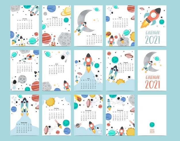 Lindo calendario de galaxias 2021 con astronauta