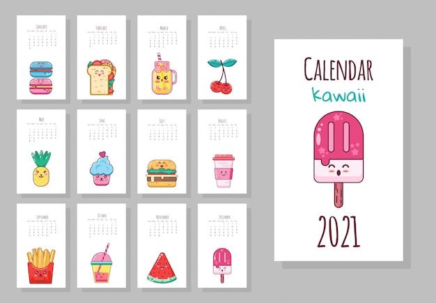Lindo calendario mensual con objetos de comida, frutas, helados, café, papas fritas