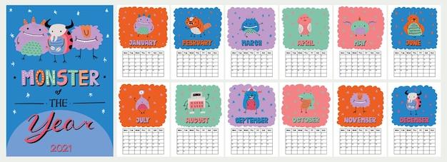 Lindo calendario de pared colorido con divertida ilustración de monstruos de estilo escandinavo