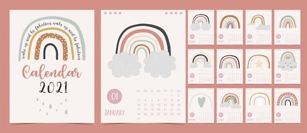Lindo calendario pastel 2021 con arcoiris, lluvia y nubes