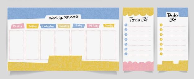 Lindo calendario plantilla de planificador diario y semanal. papel de nota, lista de tareas con ilustraciones de útiles escolares lineales