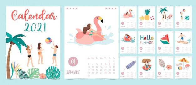 Lindo calendario de verano 2021 con gente, playa, sandía y cocotero