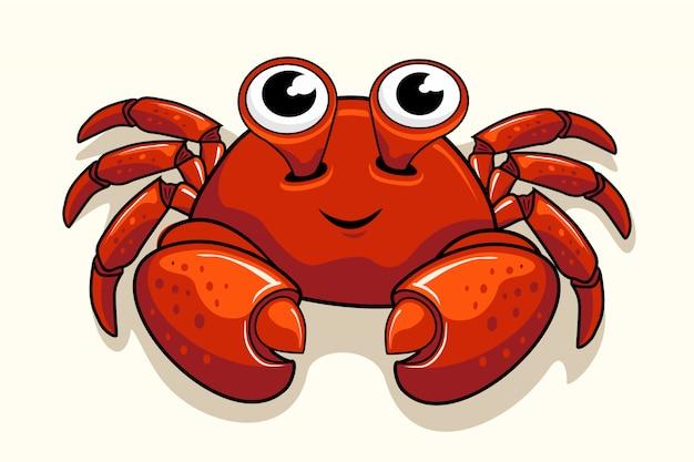Lindo cangrejo de dibujos animados animales