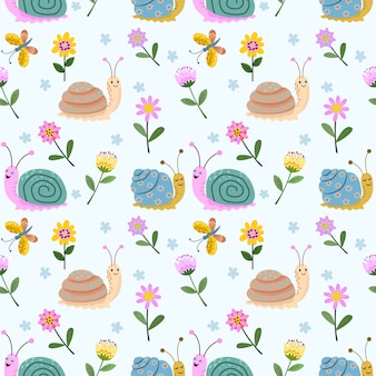 Lindo caracol y flores de patrones sin fisuras.