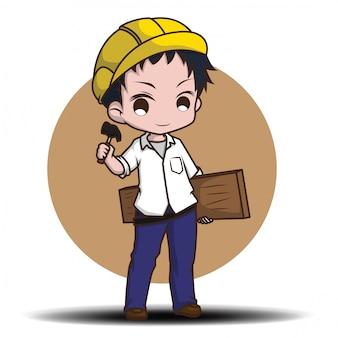 Lindo carpintero amable