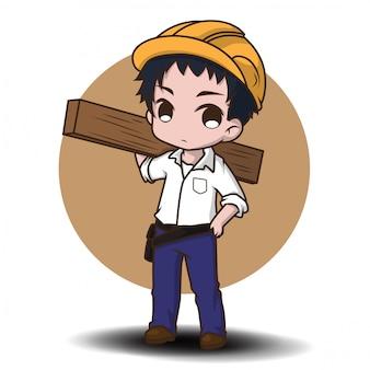 Lindo carpintero amigable, vestido con ropa de trabajo y cargando una de madera.