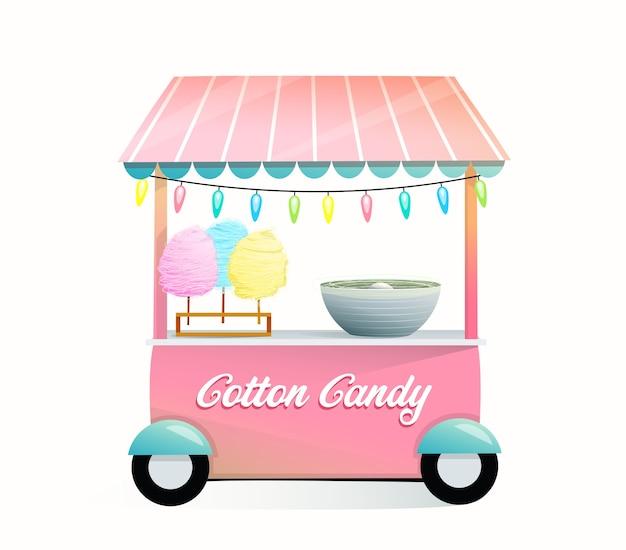 Lindo carrito de máquina de algodón de azúcar o puesto sobre ruedas